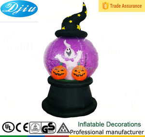 Fashionable inflatable plastic purple ball toy black base wearing witch's hat double pumpkins halloween ghost