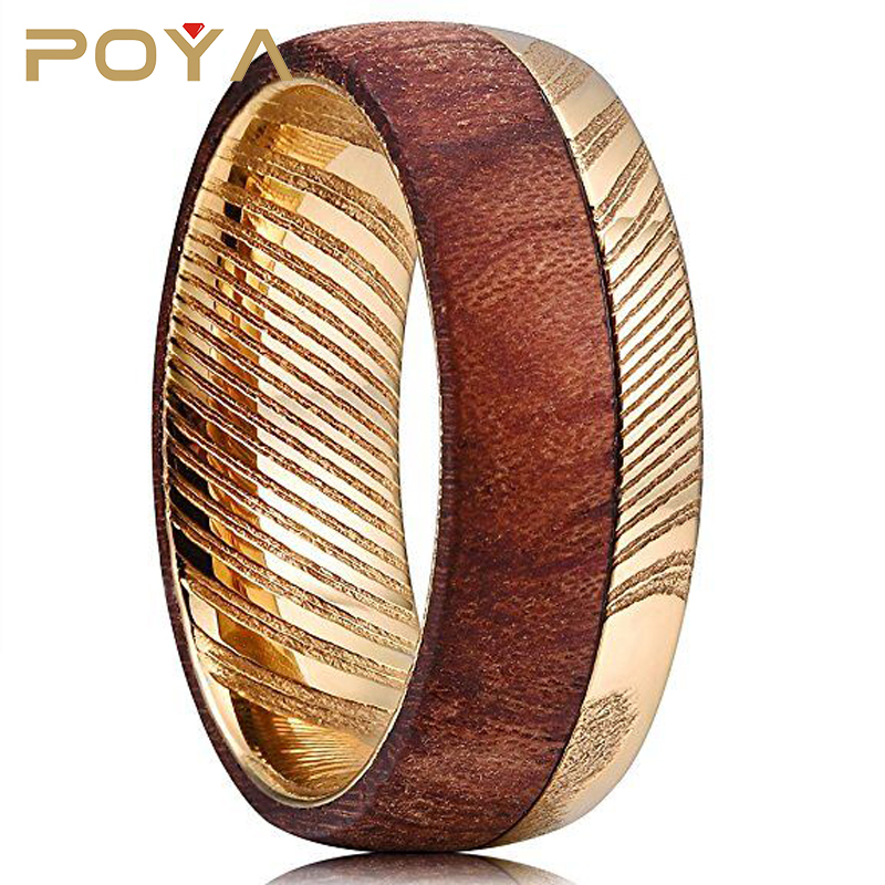 POYA Jewelry Damascus steel 8mm Rings For Men Golden Carbide Camber Center Bubinga Wood Ring