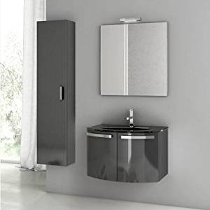 """Nameeks CD08 ACF 27-3/5"""" Wall Mounted Vanity Set with Wood Cabinet, Glass Top wi, Glossy Anthracite"""