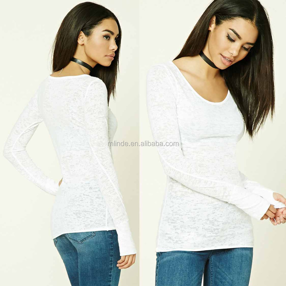 Most Popular T Shirt Colors Women Cotton Polyester Round Neck Long Thumb Holes Sleeves Burnout Knit Tee, Long Sleeve T Shirt