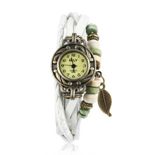 Fitness Alarm Ladies Wrap Imitation Leather and Alloy Glass Leaf Bracelet Watches
