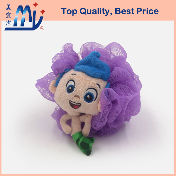 Netting Body Sponge for Kids Bath sewing with a novelty doll gift