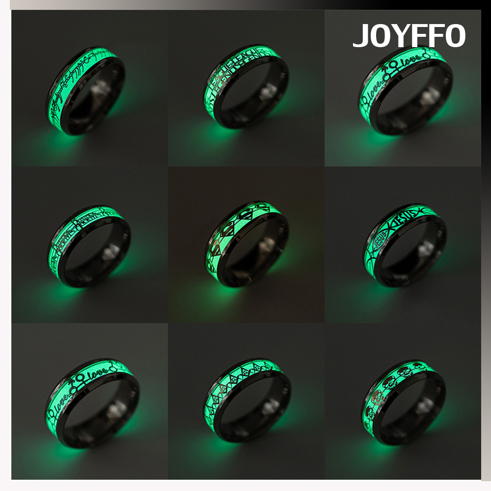 2017 design your own cool luminous stainless steel ring cheap wholesale men noctilucent 316l stainless steel rings for women
