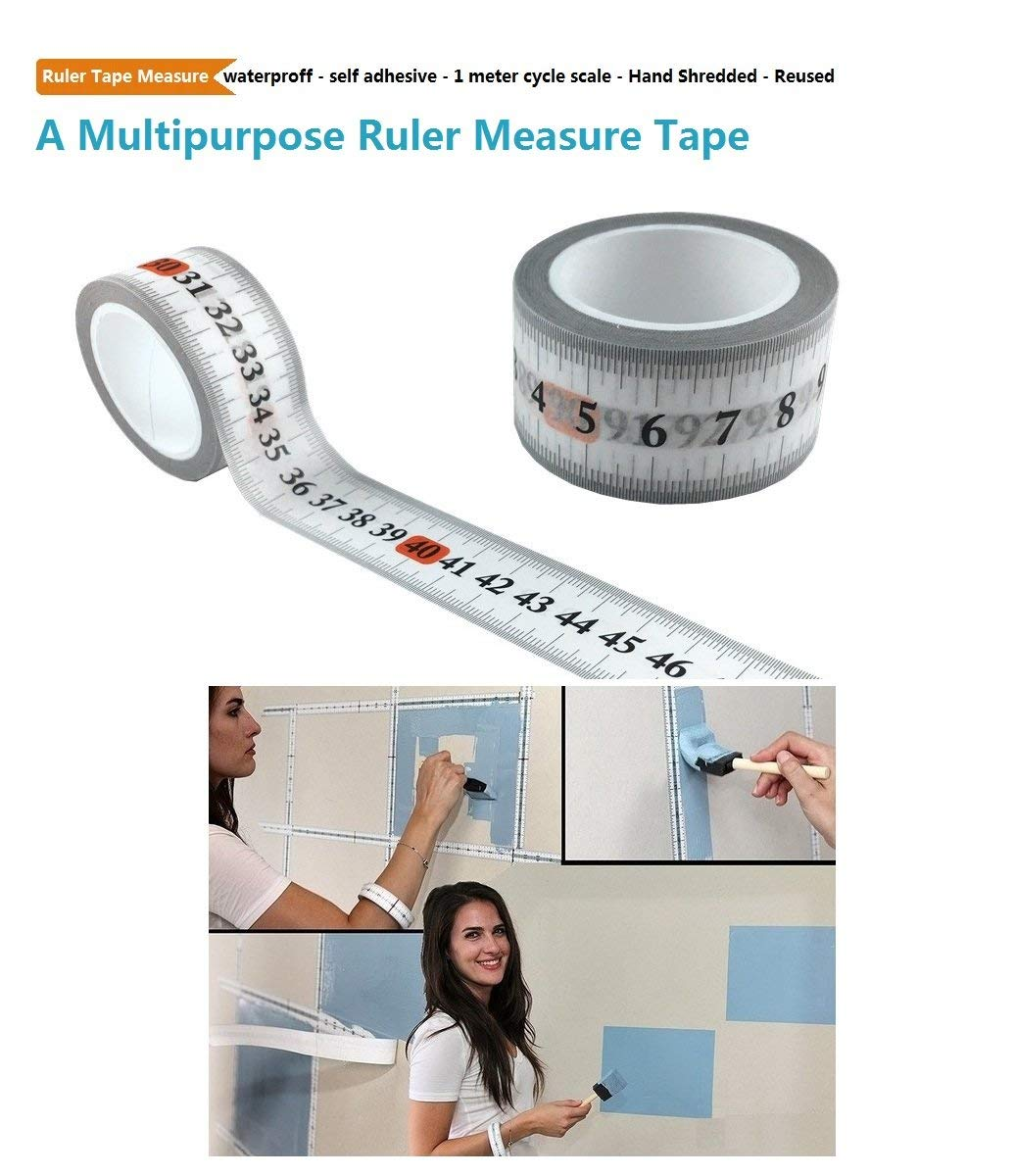 Waterproof Ruler Tape Measure, Decorative Paper Tape 25mm x 10 Metre/Roll,1 Meter Cycle Scale Self-adhesive paper tape, Removable No Sticky Glue Ruler Tape, Hand Shredded Measuring Tape (cm (2pack))