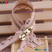 #5 square teeth light gold metal zipper,Environmental protection, can be customized products