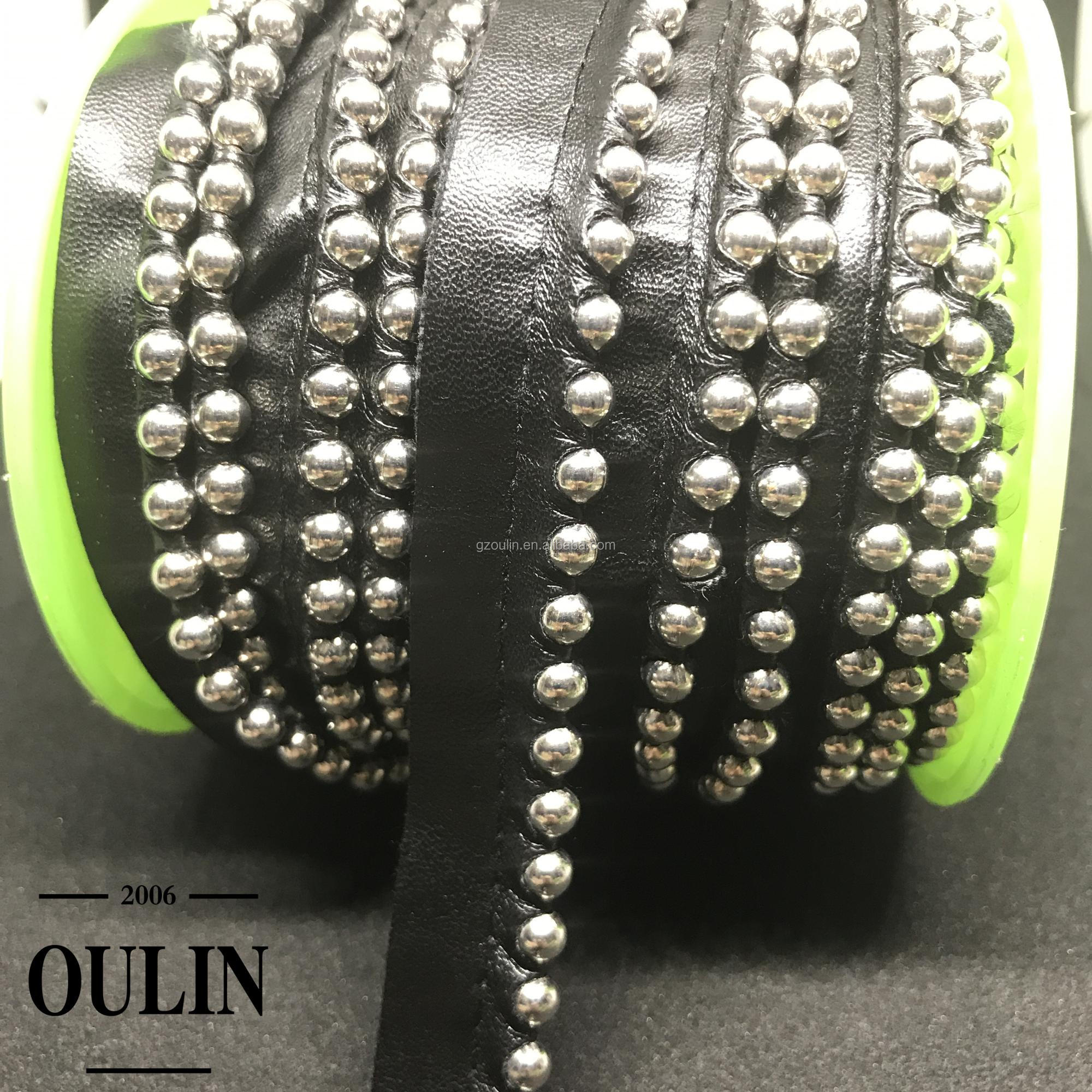 Leather type ball chain lace trim PU type one side ball chain lace trim used on bags and shoes