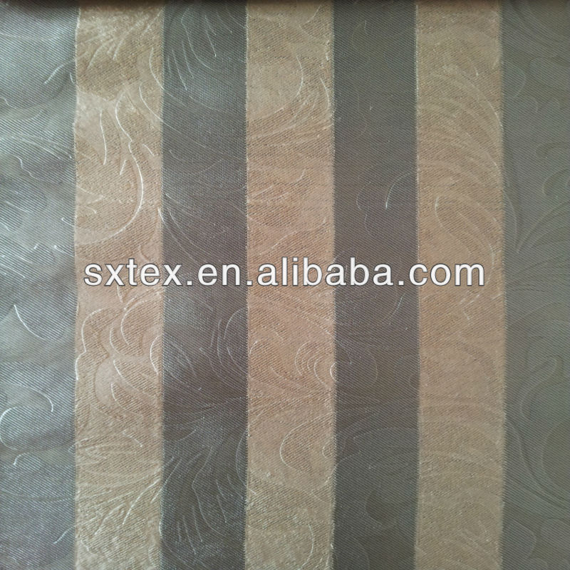 100%Polyester High Quality Fleece Stripe Base Large Leaf Embossed Curtain Fabric Blackout Fabric