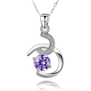 Alibaba Express New Product Two Colors Optional Design Double Fish Hook Pendant with Round Brilliant AAA Diamond