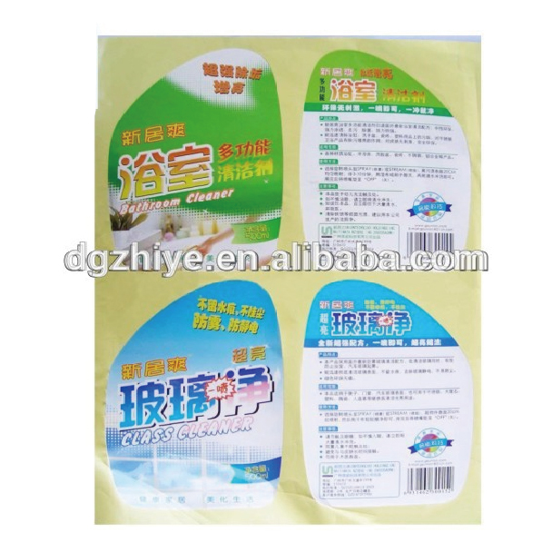 China waterproof pvc bathroom personalized printing adhesive die cut sticker label for floor-cleaning liquid bottles
