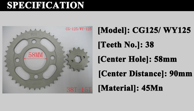 Cg125 Motorcycle Sprockets Professional Custom Link Chain Wheels ...