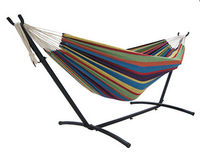 Best Choice Double Hammock With Space Saving Steel Stand Includes Portable Carrying Case, Desert Stripe