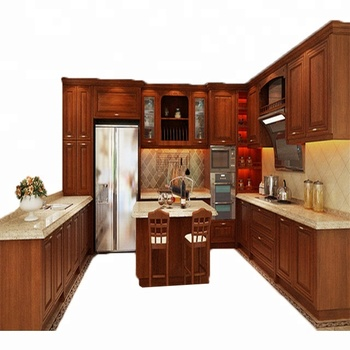 Customized High Quality Modern Kitchen Cabinets Solid Wood With