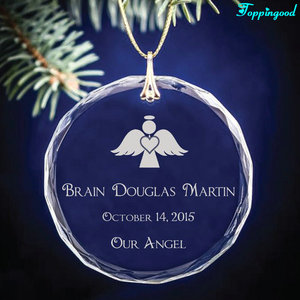 Engraved Angel Glass Christmas Ornament For Baby Birth Souvenir