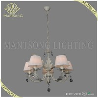 2015 Classic lighting european style creamy white fabric shade chandelier pendant light with crystal pendants free shipping