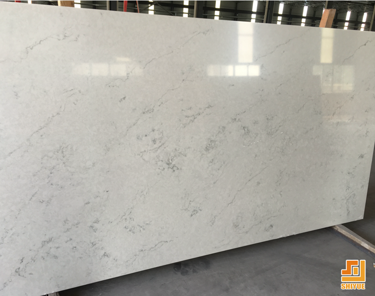 High Quality Slab Type SY3008 London Artificial White Quartz Stone For Countertop