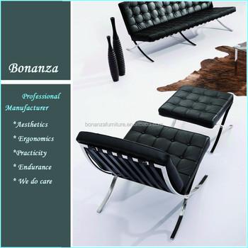 801top Grain Ludwig Mies Van Der Rohe Leather Barcelona Sofa For