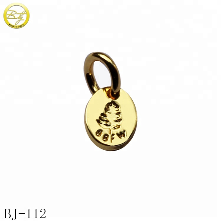 Custom engraved logo pendant charm bracelet gold jewelry metal tag