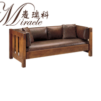 Top leather upholstery wood frame brown couch