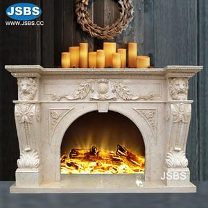 Low Price Classic Lion Head Marble Carving Fireplace Mantle