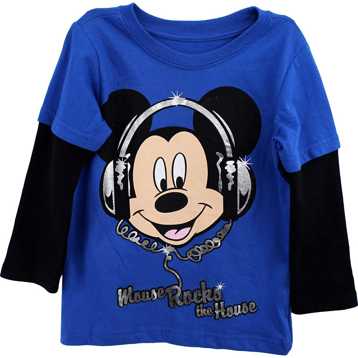 27ed2f13 Get Quotations · Mickey Mouse Toddler Boys Shirt Mickey Mouse Rocks The  House Tee Blue