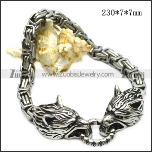 Latest Design Silver Engraved Block Chain Two Wolf Striving for Iron Hoop Biker Bracelet