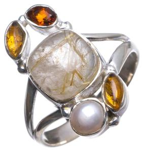 Natural Rutilated Quartz,Amber,River Pearl and Garnet 925 Sterling Silver Ring, US size 9.75