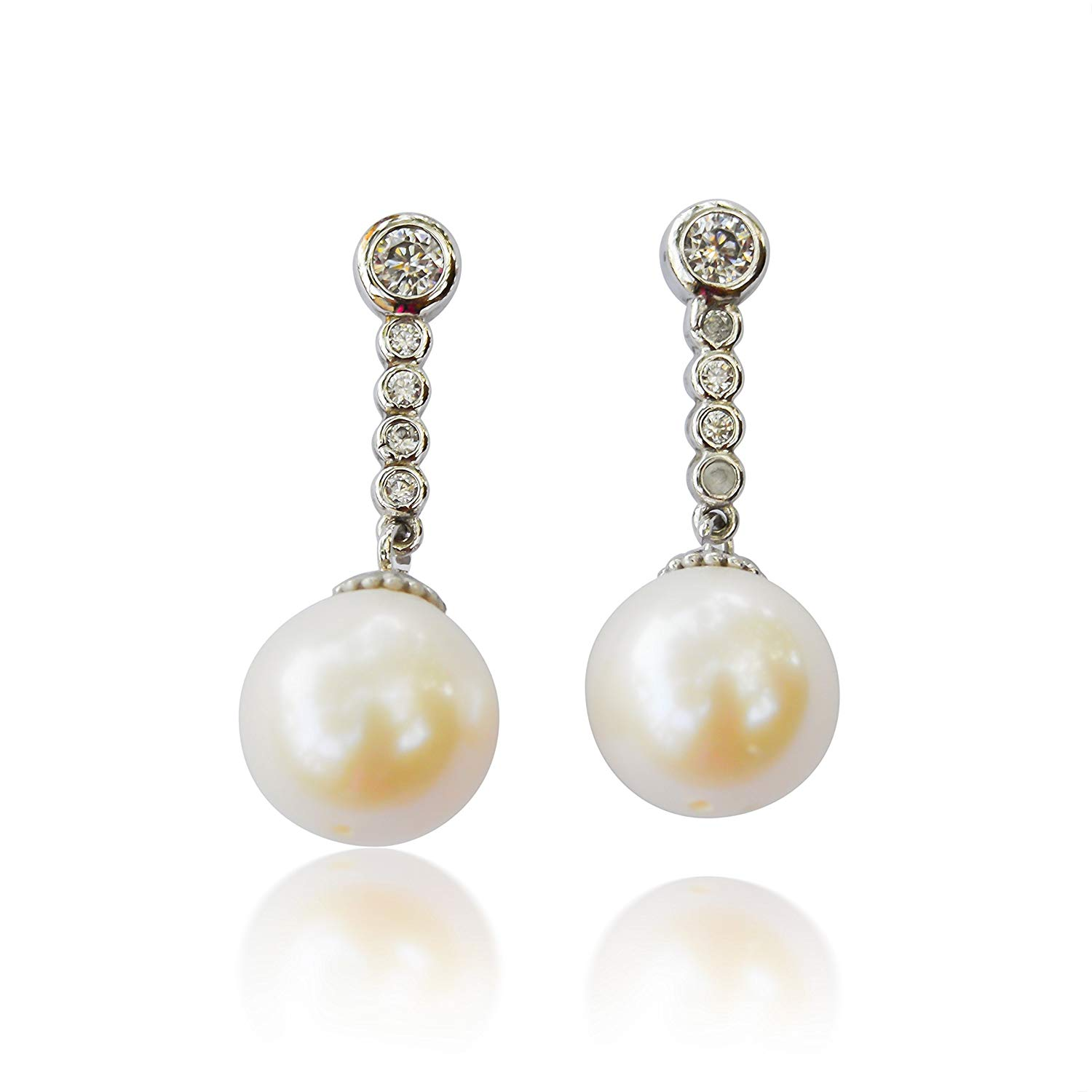 10K White Gold Dangling Earrings White Freshwater Cultured Pearl with 5 Round Cubic Zirconia Accents