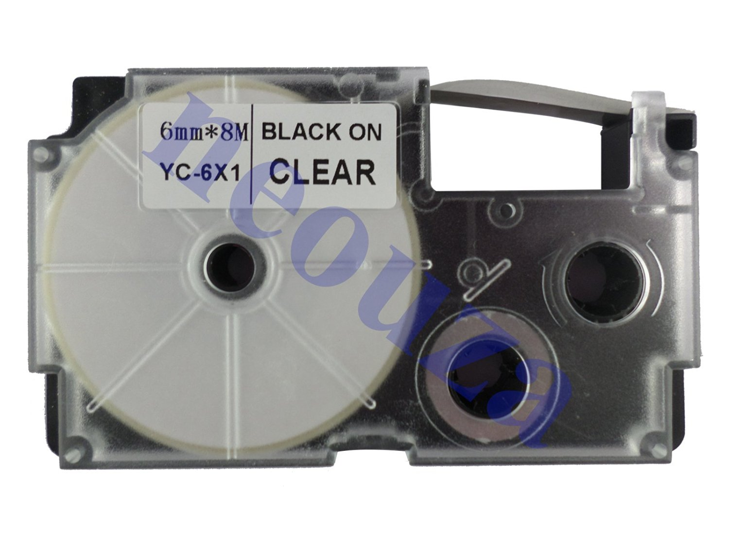 Compatible for Casio EZ-Label Tape 6mm Black on Clear XR-6X1 8m LABEL IT!