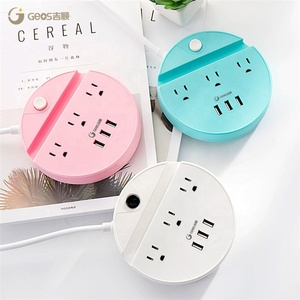 Low Price US smart Extension Power Strip 3 Outlet Power socket with phone holder