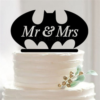 Black Batman Silhouette MrMrs Wedding Cake Decor Acrylic Topper