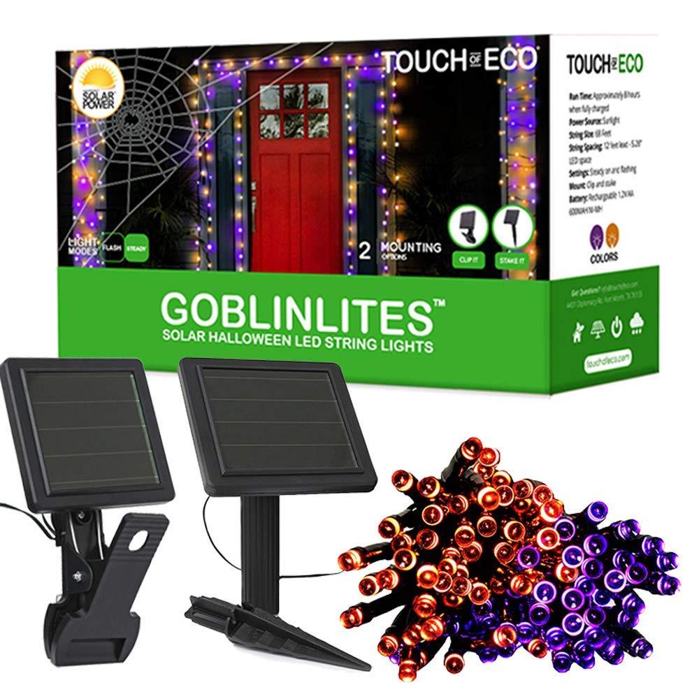 Touch Of ECO Solar GOBLINLITES Halloween LED String Lights, Orange/Purple