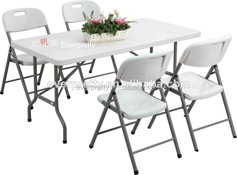 Folding Rectangular Dining Table And Chairs White Folded Plastic