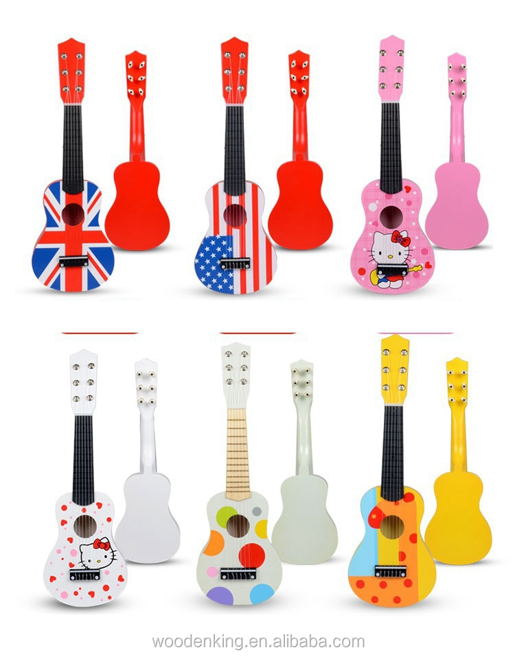 New Trend Products 2017 Oem Scenic Spot Hot 21 Inches Cartoon Wooden Play Mini Kids Toys Children Toy Guitar