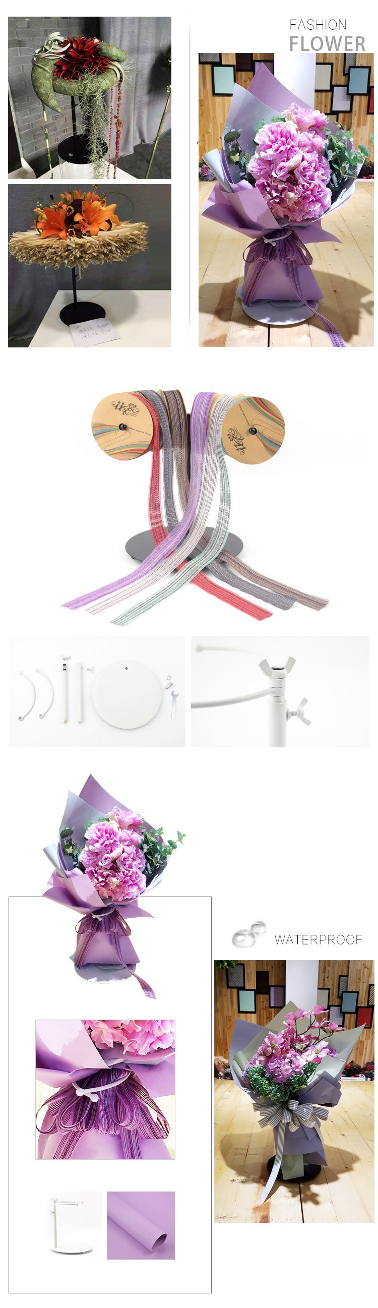 Table setting iron flower wrapping bouquets stander holder florist supplies