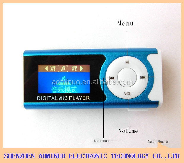 Promotion very cheap Mini MP3 music player 1.3 inch with LED light mp3 player clip mp3 players high quality