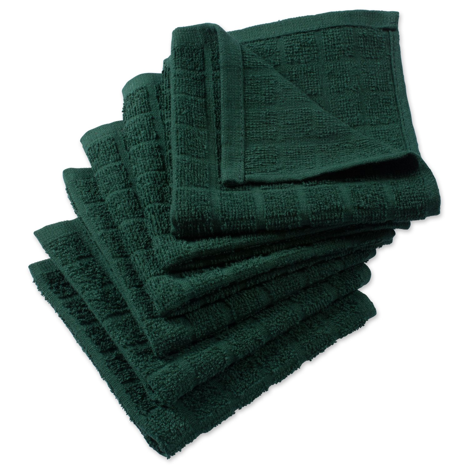 """DII Cotton Terry Windowpane Dish Cloths, 12 x 12"""" Set of 6, Machine Washable and Ultra Absorbent Kitchen Bar Towels-Solid Dark Green"""