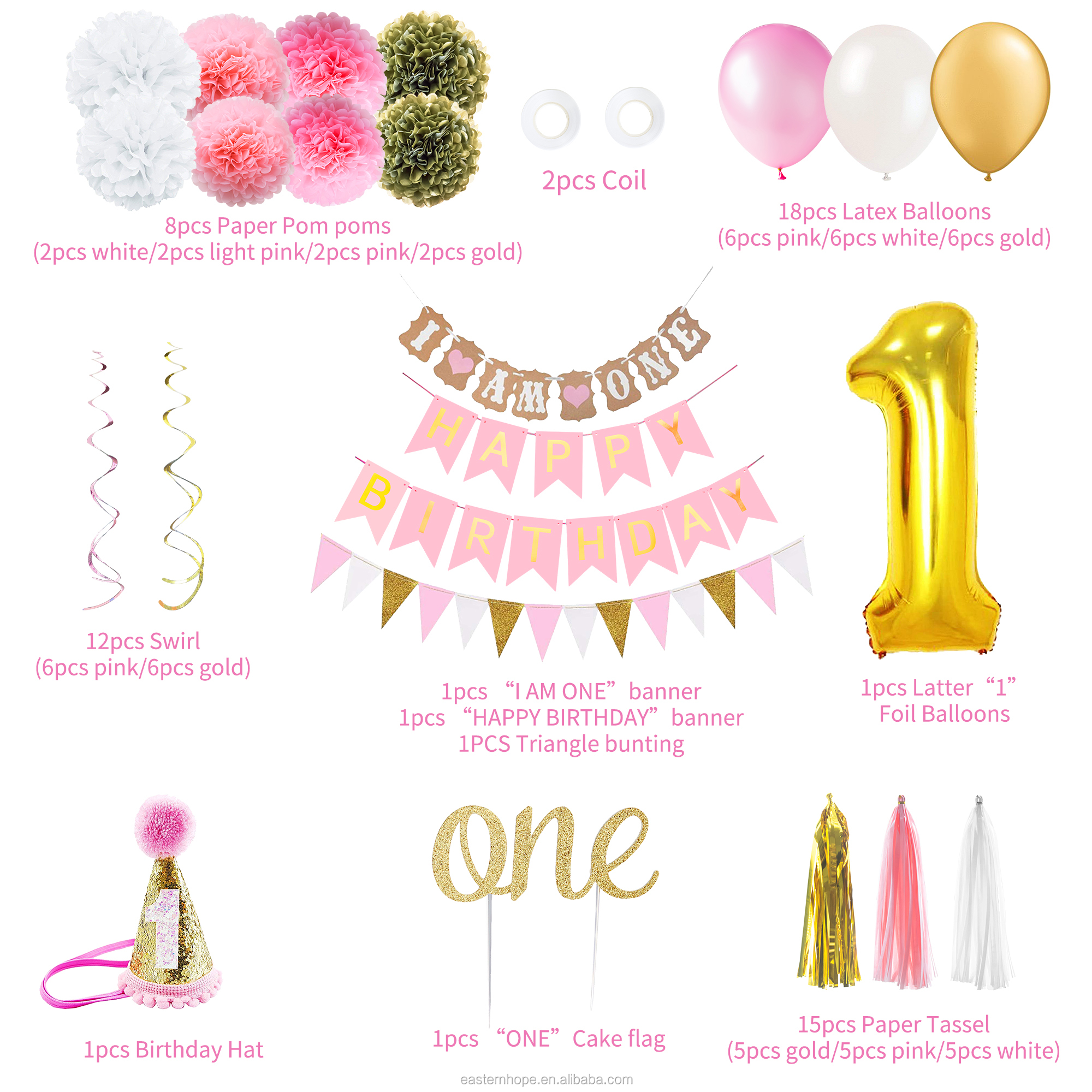 GOLD PINK MULTI HAPPY BIRTHDAY BALLOON BANNER BUNTING PARTY DECOR FOIL baloons