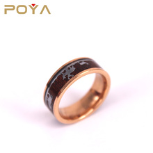 POYA Jewelry 8mm Elk in the Woods Rose Gold Tungsten Hunter Wedding Ring for Men