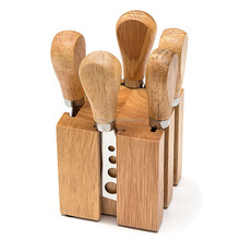 Stainless Steel Cheese Knives Set Collection In Wood Cheese Block 6-Piece set
