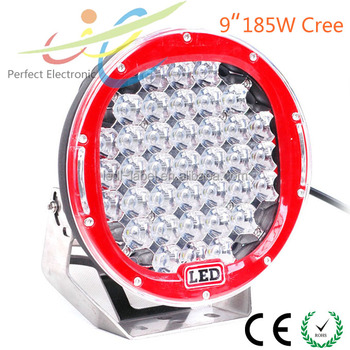 Factory sale! 9'' 185w led driving light round 4x4 , auto parts 185w led driving lamp, spot flood 185w offroad lighting