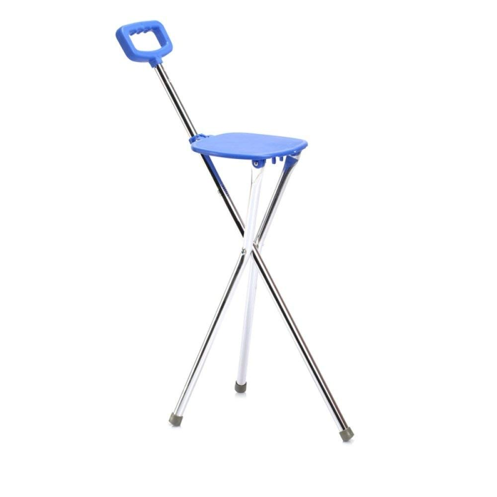 LIULIFE Walking Stick With Seat Old Man Walking Stick Walker Tripod Cane Stool Walking Stick Medical,Blue-87cm