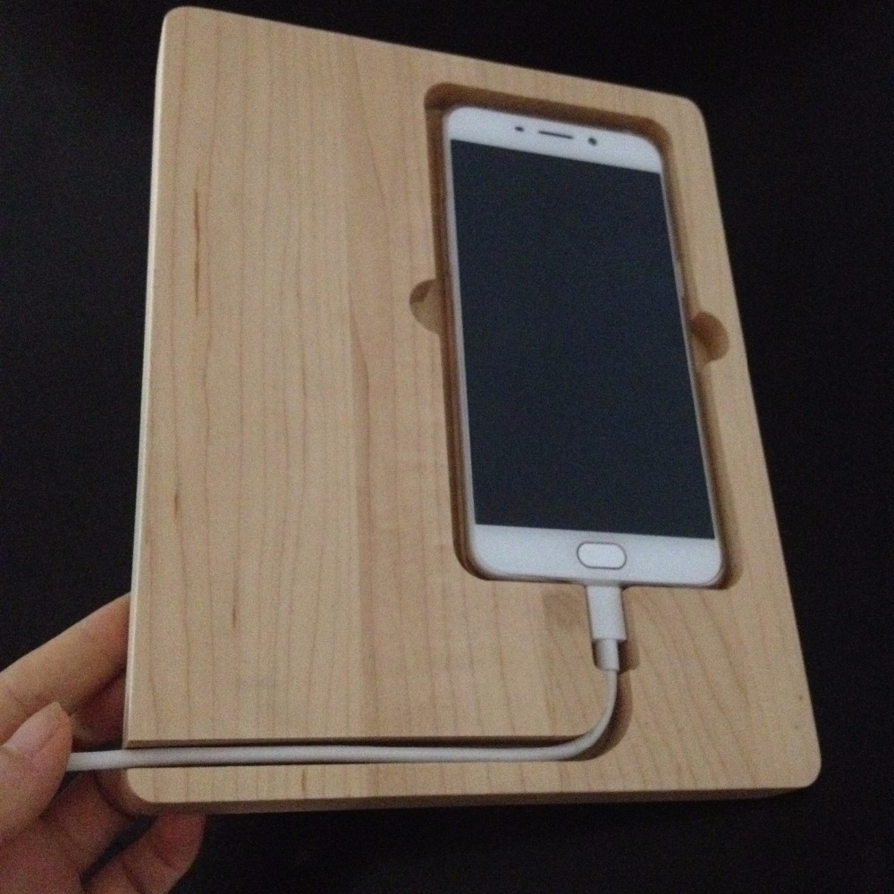 Natural maple wood phone charging stand dockwooden docking station for phone