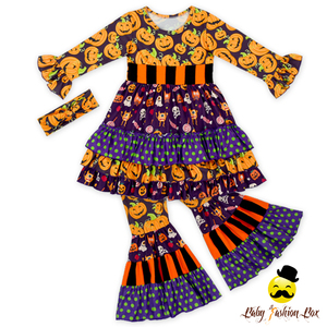 66TQZ528 Yihong Fancy Halloween Printed Pumpkin Ruffle Dress Tops Long Boot Cut Pants Children's Boutique Clothing Sets