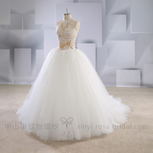 Hot Sale Champagne Halter Costume Wedding Dress Ball Gown