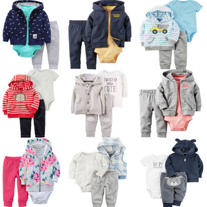 Baby Outfits Boys Girls Clothes 3pcs Set Jacket Top+Romper+Pants Infant Jumpsuits Tracksuit Overalls for Children Newborn Set