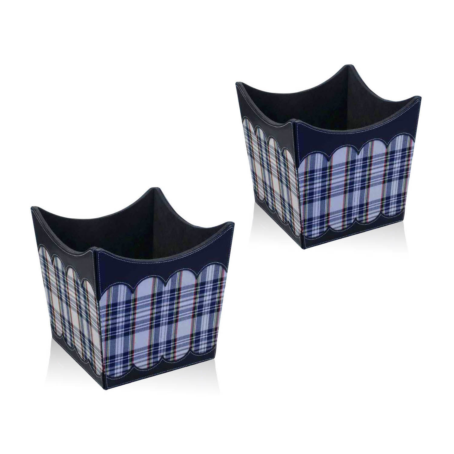 Blue lattice shaped durable PU leather storage basket