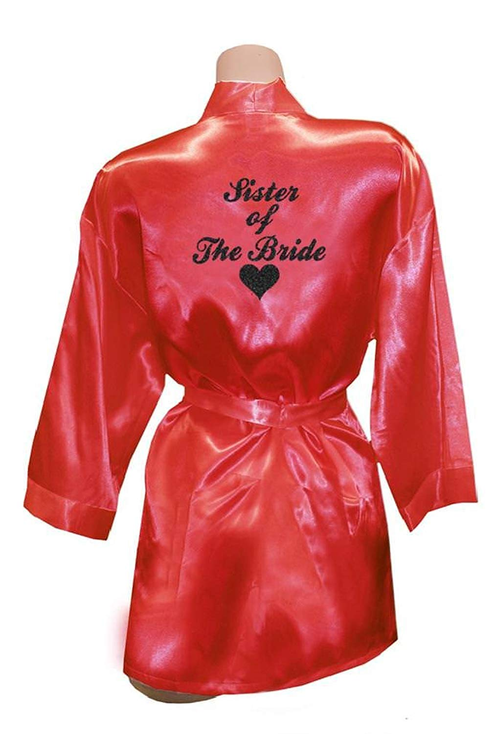 Get Quotations · TEEN fashion Women Cute Sister of The Bride Party Heart  Golden Glitter Kimono Satin Wedding Robes d0f2a0fb8