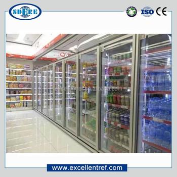 Vegetables And Fruits Glass Door Walk In Cooler For Supermarket