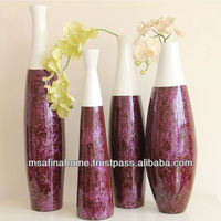 Tall neck colored lacquer bamboo vase