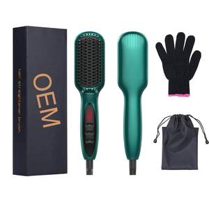 High Quality Inoic Anion Detangling Electric Ceramic Heat Straightening Stretch Hair Brush Straightener Comb